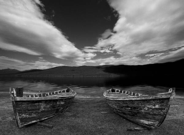 Photograph - Wooden Row Boats At The Edge Of A Lake by Randall Nyhof
