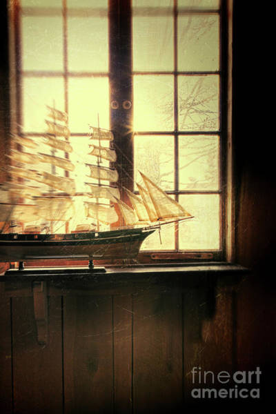Photograph - Wooden Ship In Window by Sandra Cunningham