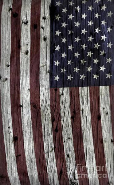 Wall Art - Photograph - Wooden Textured U. S. A. Flag by John Stephens