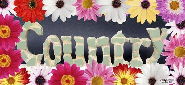 Mixed Media - Word Art Country Daisy 2 by Cynthia Amaral