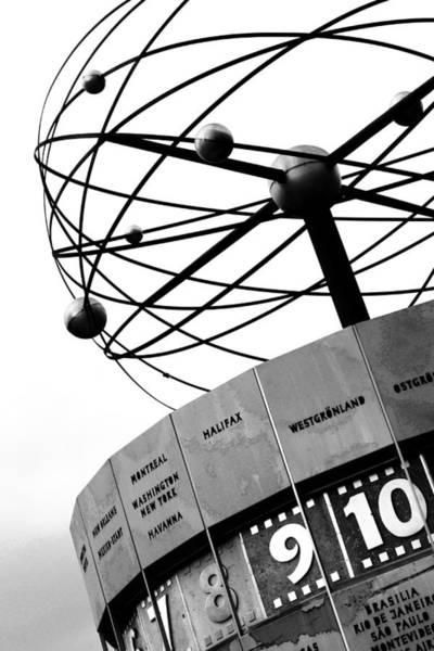 Wall Art - Photograph - World Clock Berlin Black And White Photography by Falko Follert
