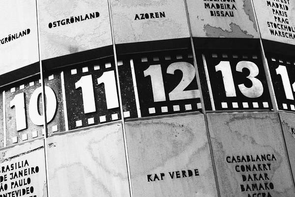 Wall Art - Photograph - World Clock Berlin Bw by Falko Follert