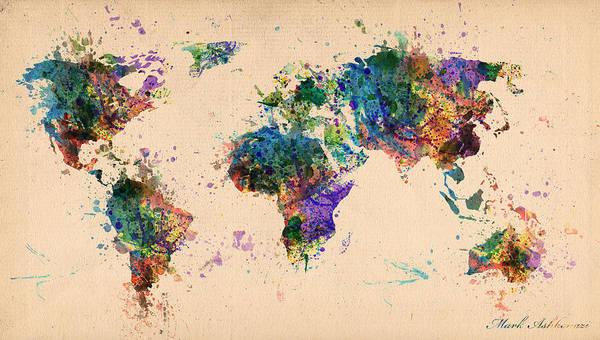 Work Of Art Digital Art - World Map 2 by Mark Ashkenazi