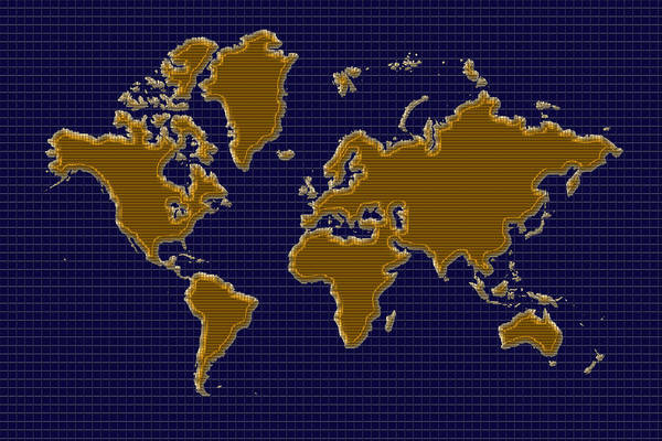 Photograph - World Map Grid by Andrew Fare