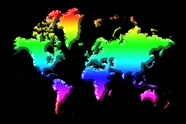 Photograph - World Map Rainbow by Andrew Fare