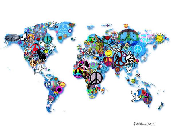 Hippy Digital Art - World Peace by Bill Cannon