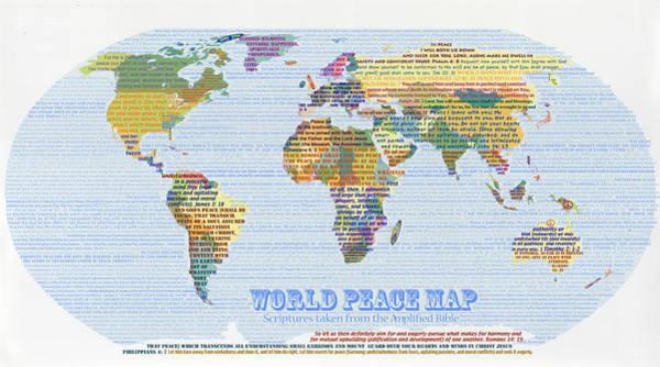 Digital Art - World Peace Map-scripture by Anne Cameron Cutri