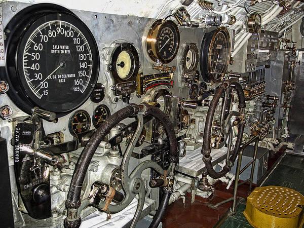 Bowfin Photograph - World War 2 Submarine Bow And Stern Plan Controls by Daniel Hagerman