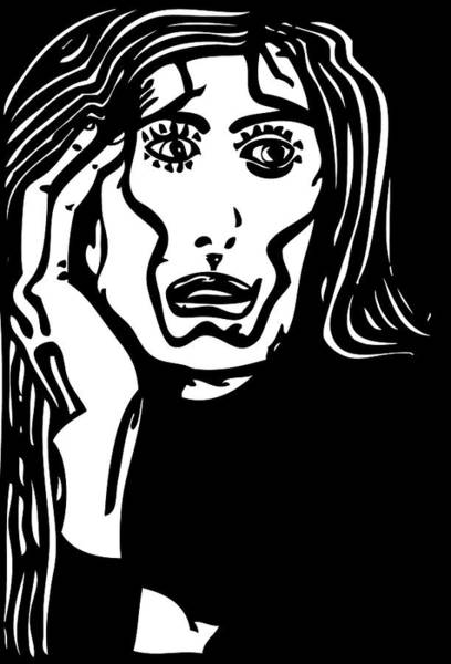 Miserable Drawing - Worried by Artistic Photos