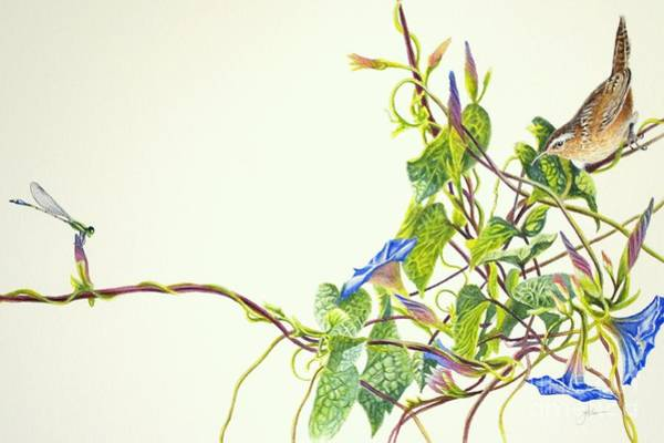 Painting - Wren And Damselfly by Greg and Linda Halom