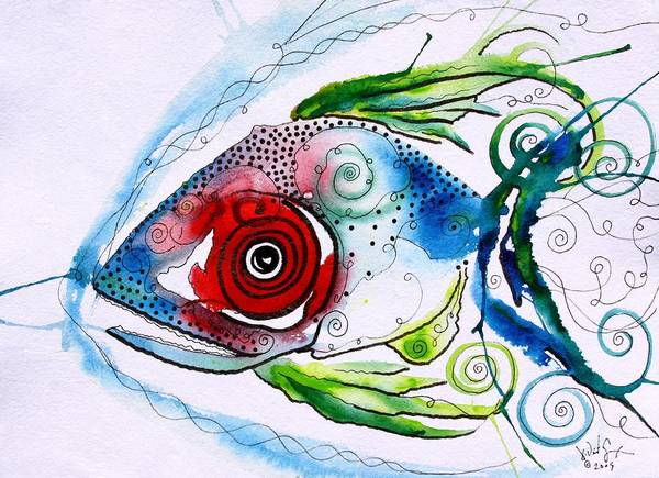 Fish Painting - Wtfish 001 by J Vincent Scarpace