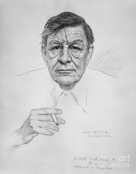 Charcoal Drawing Photograph - Wystan Hugh Auden  (1907-1973). English Poet. Charcoal On Paper, 1972, By Soss Melik by Granger