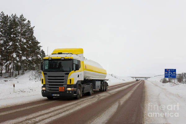 Wall Art - Photograph - Yellow And White Fuel Tanker Truck by Jaak Nilson