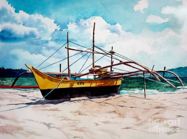 Painting - Yellow Boat Docking On The Shore by Christopher Shellhammer