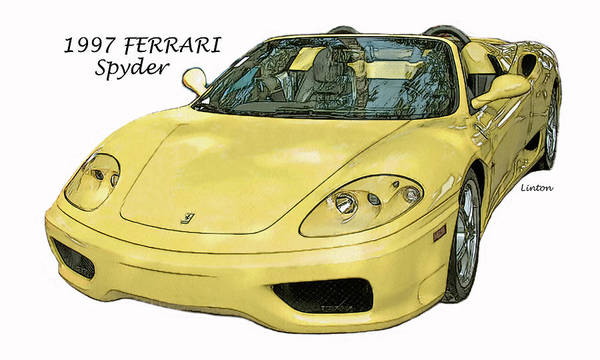 Digital Art - Yellow Ferrari by Larry Linton