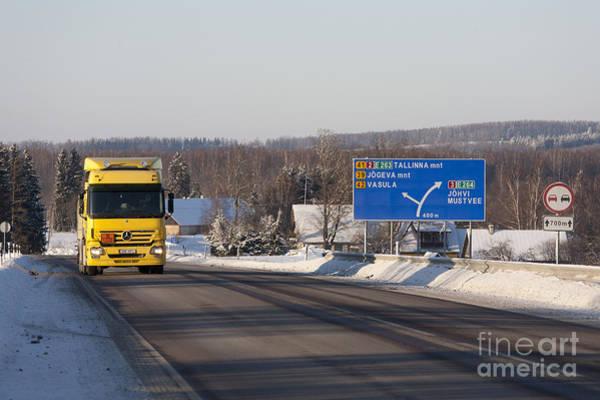 Wall Art - Photograph - Yellow Fuel Tanker Truck by Jaak Nilson