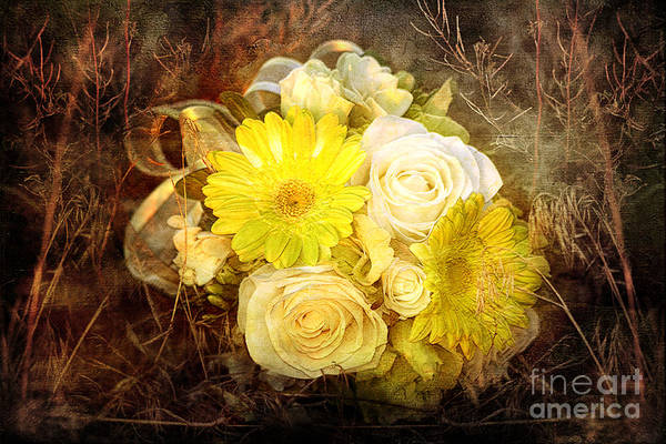 Photograph - Yellow Gerbera Daisy And White Rose Bridal Bouquet In Nature Setting by Cindy Singleton