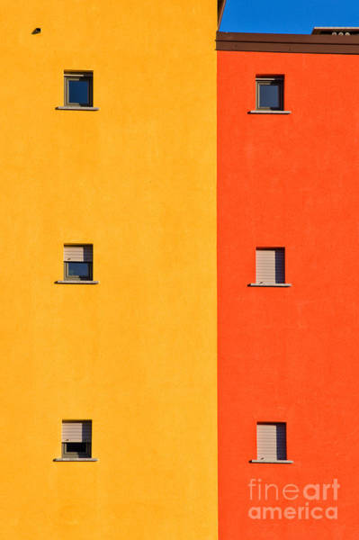 Wall Art - Photograph - Yellow Orange Blue With Windows by Silvia Ganora