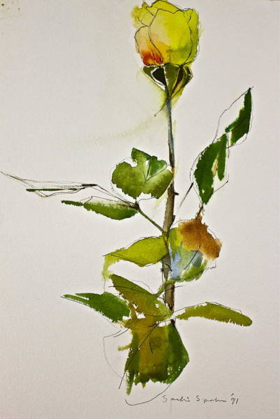 Painting - Yellow Rose-posthumously Presented Paintings Of Sachi Spohn  by Cliff Spohn