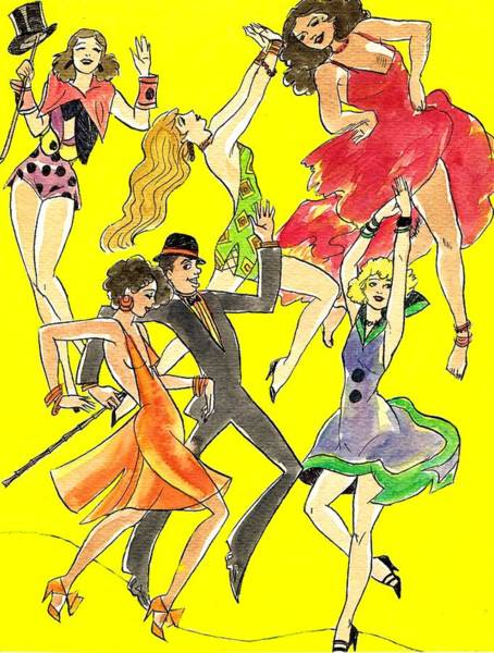 Flappers Drawing - Yellow Song Sheet by Mel Thompson