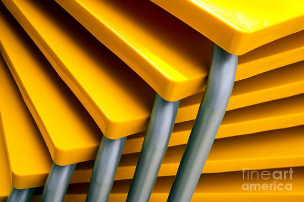 Outdoor Cafe Photograph - Yellow Tables by Carlos Caetano