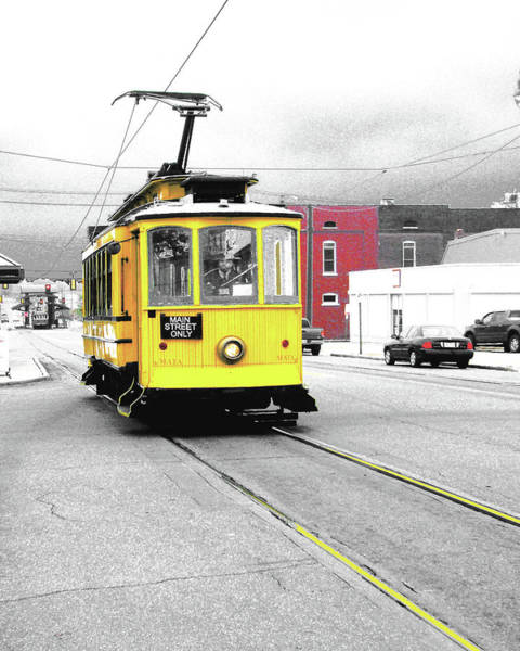 Digital Art - Yellow Trolley North Main St by Lizi Beard-Ward