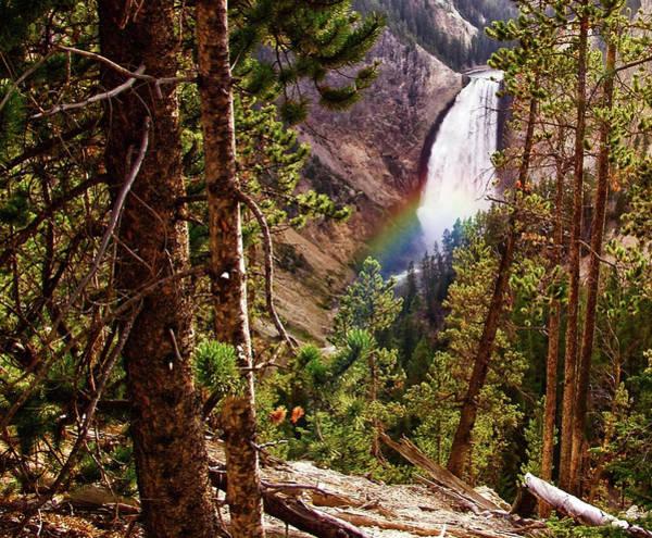 Digital Art - Yellowstone Falls With Rainbow by Gary Baird