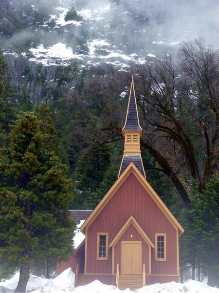 Photograph - Yosemite Chapel In Snow by Jeff Lowe