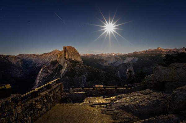 Photograph - Yosemite National Park Half Dome Full Moon by Scott McGuire