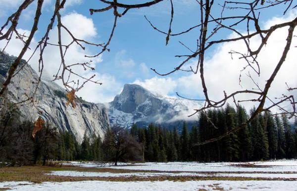 Photograph - Yosemite's Half Dome In Winter Snow And Meadow by Jeff Lowe