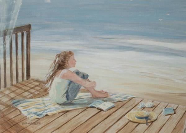 Oceanscape Painting - Young Christina By The Beach by Tina Obrien