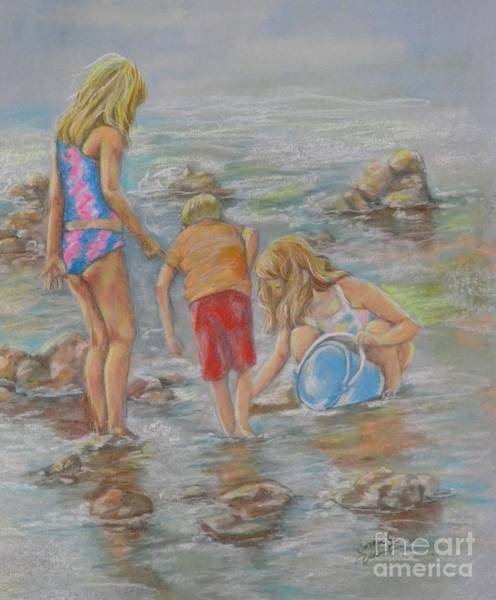 Wall Art - Pastel - Young Crab Hunters by Sandra Valentini