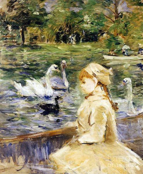 Punt Painting - Young Girl Boating by Berthe Morisot