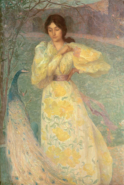 Yellow Ribbon Painting - Young Girl With A Peacock by Edmond-Francois Aman-Jean