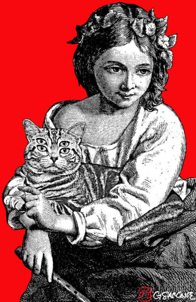 Mixed Media - Young Girl With Cat by Gianni Sarcone