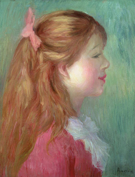 Pink Ribbon Wall Art - Painting - Young Girl With Long Hair In Profile by Pierre Auguste Renoir