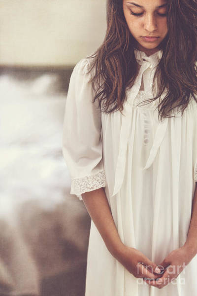Photograph - Young Woman Looking Down And Wearing A White Nightgown by Sandra Cunningham