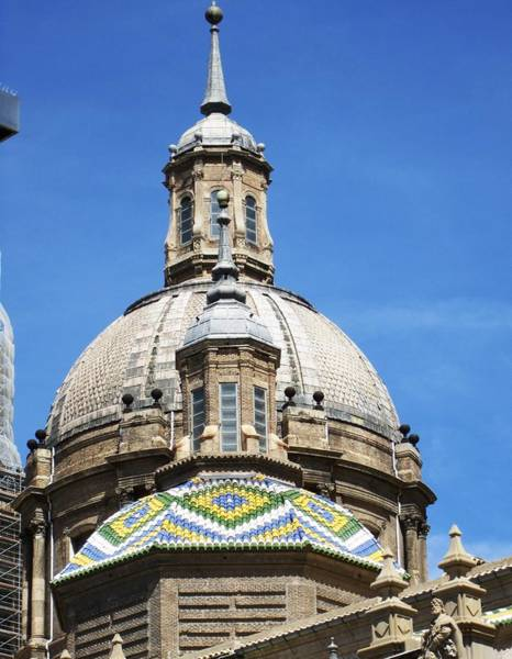 Photograph - Zaragoza Basilica Amazing Detailed Roof Work In Spain by John Shiron