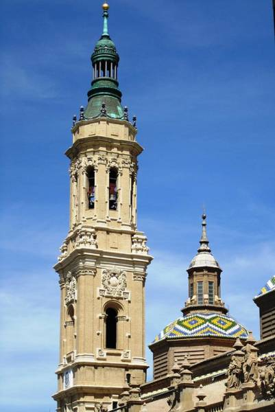 Photograph - Zaragoza Basilica Bell Tower And Beautiful Detailed Moulding Work In Spain by John Shiron