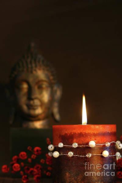 Wall Art - Photograph - Zen Candle And Buddha Statue by Sandra Cunningham