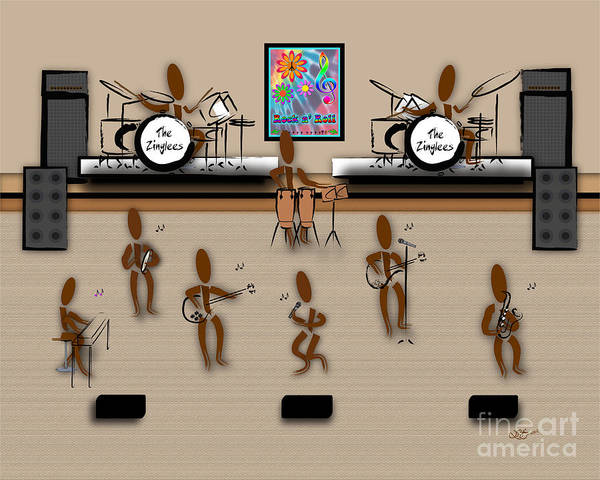 Jazz Trio Digital Art - Zinglees-the Rock Band by Linda Seacord