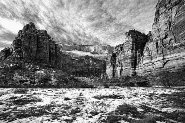 Photograph - Zion Canyon - Bw by Christopher Holmes