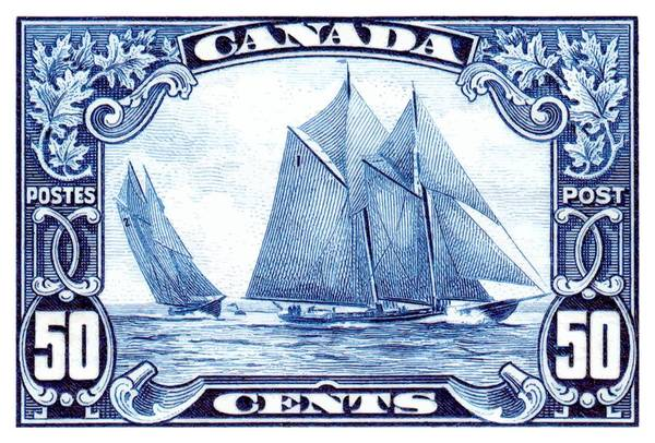 Halifax Wall Art - Digital Art -  1929 Canada Schooner Bluenose Postage Stamp by Retro Graphics
