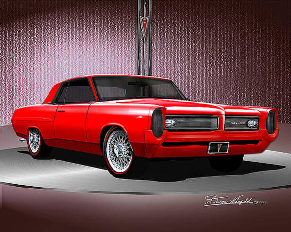 Car Drawings Mixed Media -  1964 Custom Pontiac Grand Prix Gpx  by Danny Whitfield