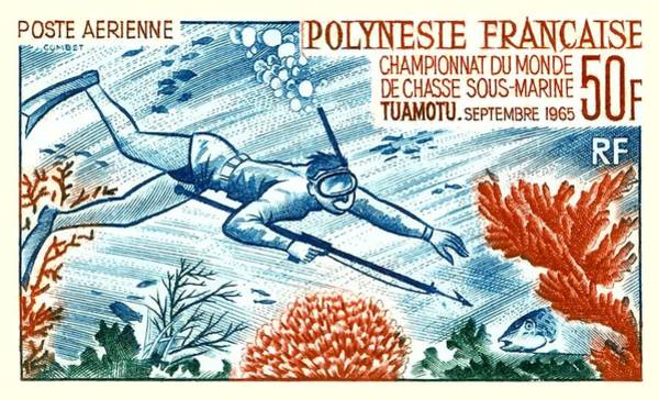Scuba Diving Wall Art - Digital Art -  1965 French Polynesia Spearfishing Postage Stamp by Retro Graphics