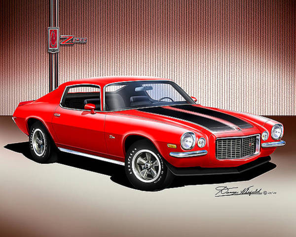 Car Drawings Mixed Media -  1970 Camaro Z28 by Danny Whitfield
