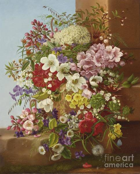 Painting -  A Bouquet Of Flowers On A Stone Ledge by Celestial Images