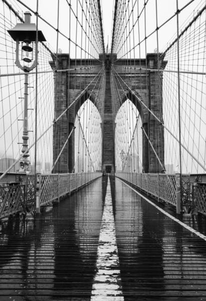 Empire Line Photograph - Brooklyn Bridge And Rain by Randy Lemoine