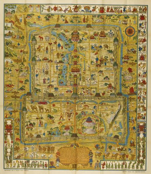 Painting -  A Map And History Of Peiping by  Frank Dorn