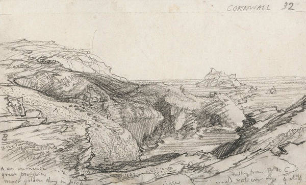 Drawing - A Page From A Cornish Sketchbook - Cornwall 32  by Samuel Palmer